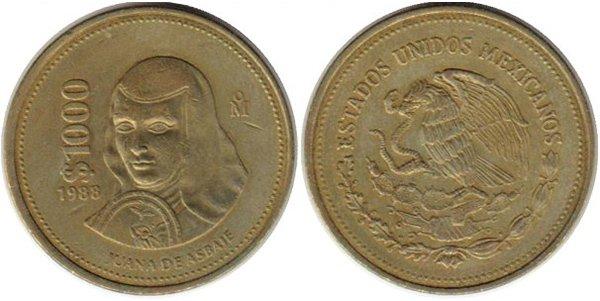 1000 песо 1988 г. Портрет монахини-поэтессы Хуаны де Асбахе