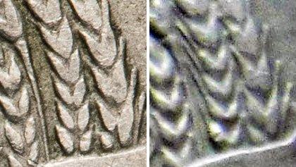Оригинальный аверс без остей (слева) и аверс монет позднего периода с остями (справа)