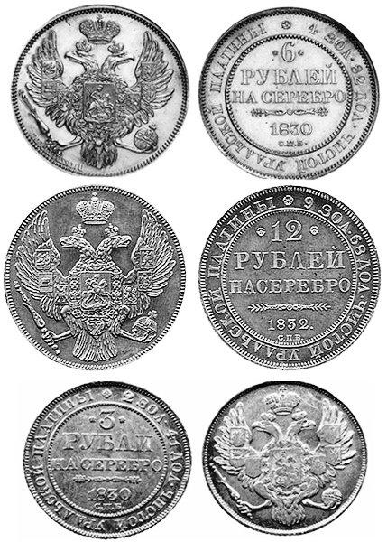 Комплект платиновых монет Российской империи