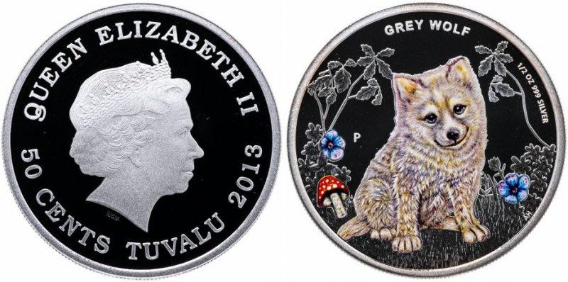 50 центов Тувалу «Детеныши леса – Серый волк»