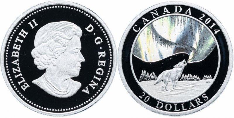 20 долларов «История Северного сияния – воющий волк», Канада