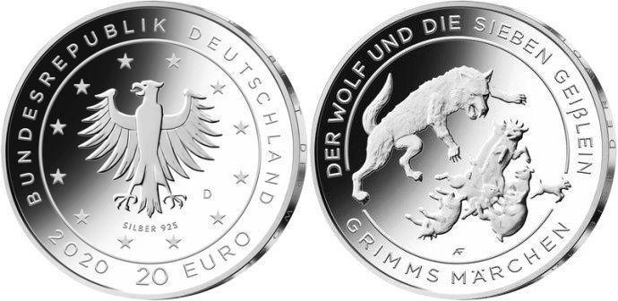 20 евро «Волк и семеро козлят», серия «Сказки братьев Гримм», Германия