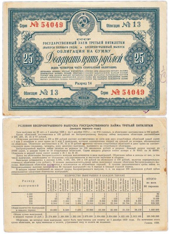 Облигация 25 рублей (1938)