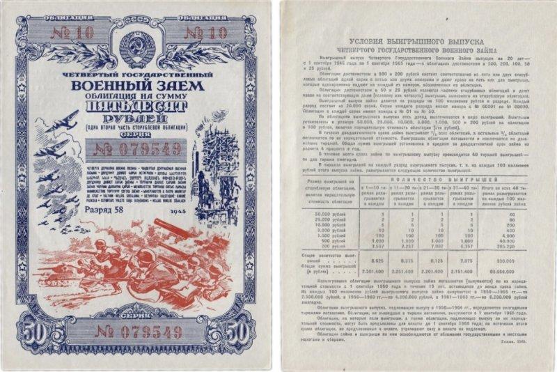 Облигация  50 рублей (1945)