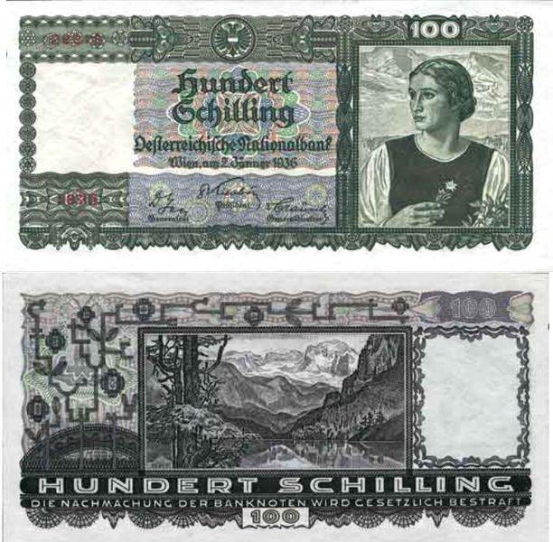 100 австрийских шиллингов 1936 г. Цвет: темно-зелёный на многоцветном фоне. Аверс: Портрет женщины с эдельвейсом. Реверс: Академия наук в Вене