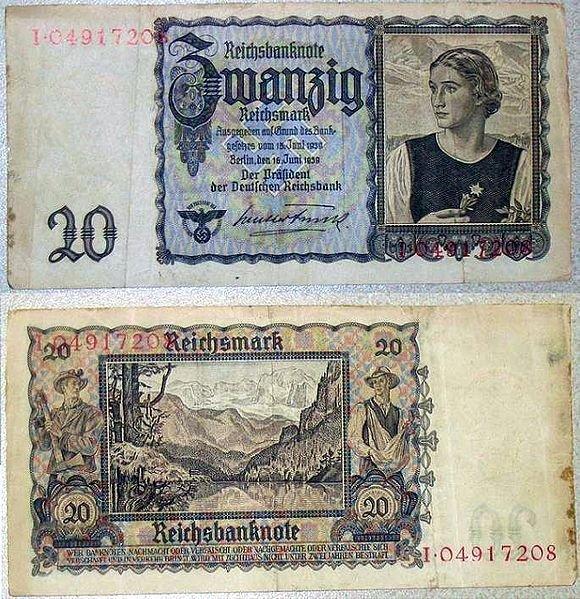 20 рейхсмарок 1939 г. Цвет: Темно-серый на белом фоне. Аверс: девушка с эдельвейсом. Реверс: рабочий и крестьянин