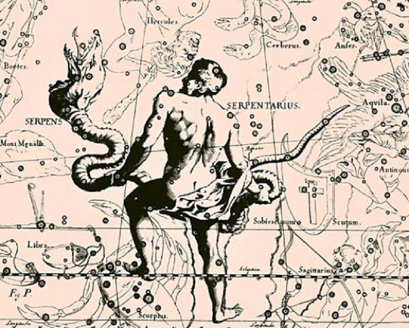Изображение созвездия Змееносца в Атласе звездного неба Яна Гевелия