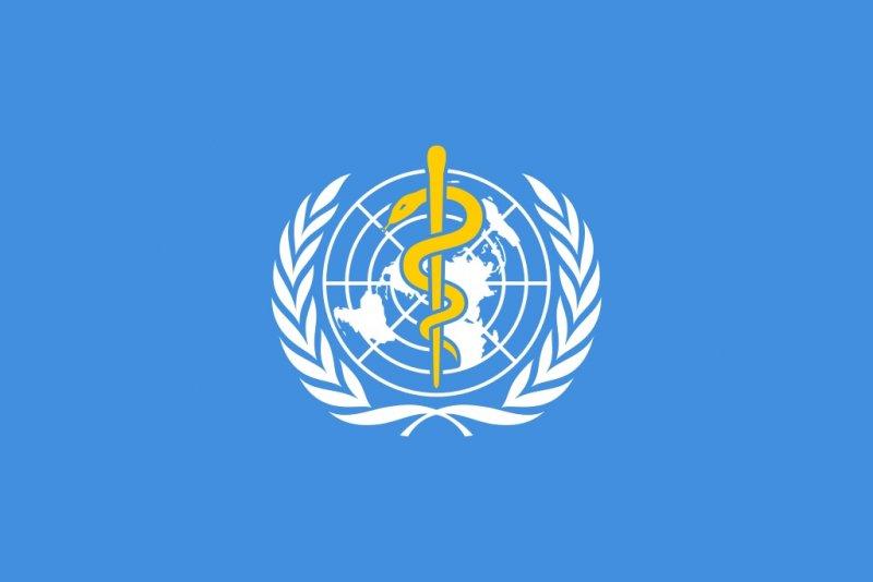 Посох Асклепия на флаге Всемирной организации здравоохранения