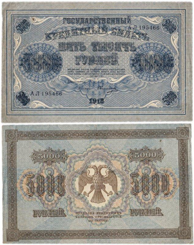 Государственные кредитные билеты образца 1918 года номиналом 5000 рублей (212 х 131 мм)