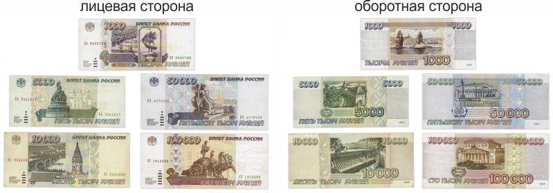 Банкноты 1000, 5000, 10000, 50000 и 100000 рублей 1995 года