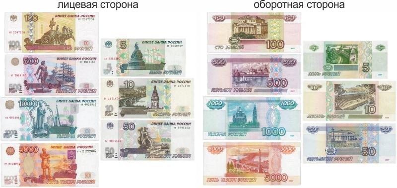 Банкноты 5,10,50,100,500,1000 и 5000 рублей образца 1997 года