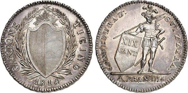 4 франка. Швейцарский италоязычный кантон Тичино. 1814 год. Серебро. 29 г