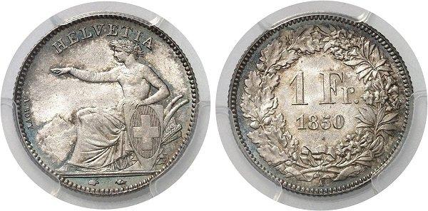 1 франк с сидящей персонификацией Гельвеции. Швейцарская Конфедерация. 1850 год. Серебро 900 пробы, вес – 5 г