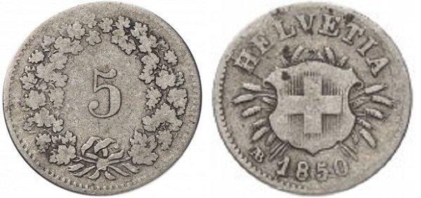 5 раппенов 1850 года. Швейцария. Серебро, 1,67 г. Страсбургский монетный двор (АВ)