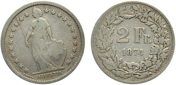 Стоящая Гельвеция в окружении звезд на 2-франковой монете. 1874 год. Серебро