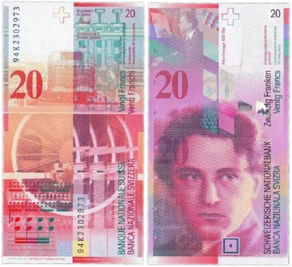 Банкнота 20 франков с портретом композитора Артюра Онеггера. 1994 год