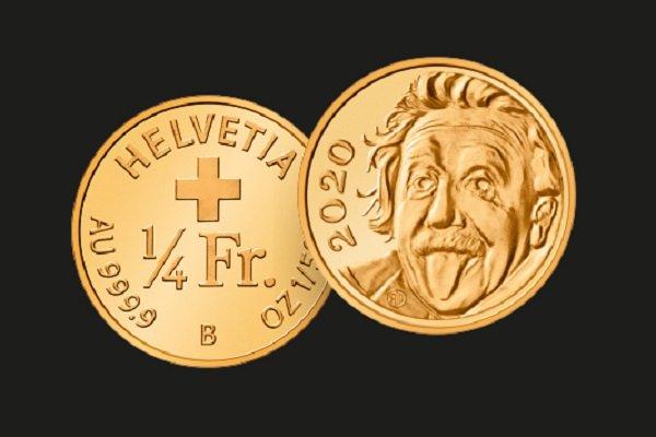 Самая маленькая золотая монета в мире. 1\4 швейцарского франка. 2020 год