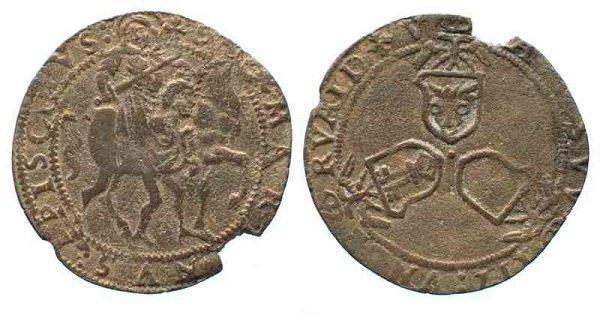 Серебряный кавалотто. Монета кантонов Швиц, Ури и Унтервальден. XVI век. На аверсе – гербы кантонов. На реверсе – св. Мартин Турский отдает свой плащ нищему