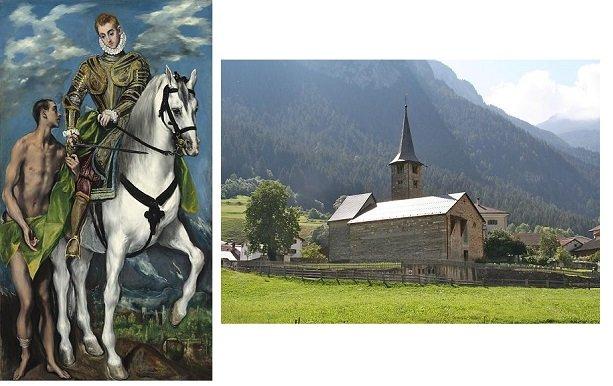 1 – Эль Греко. Св. Мартин делится плащом с нищим. 1597-1600 гг.; 2 – Базилика св. Мартина в швейцарской деревне Циллис. XII век