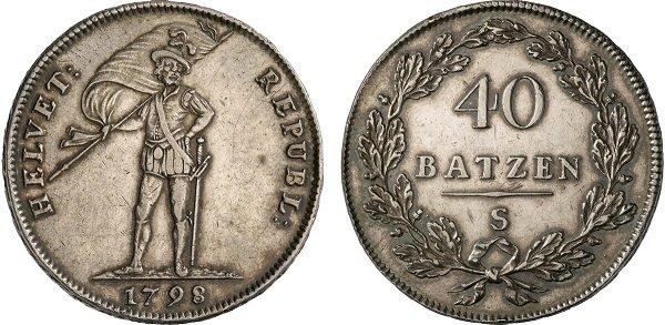 40 батценов. Гельветическая республика. 1798 год серебро