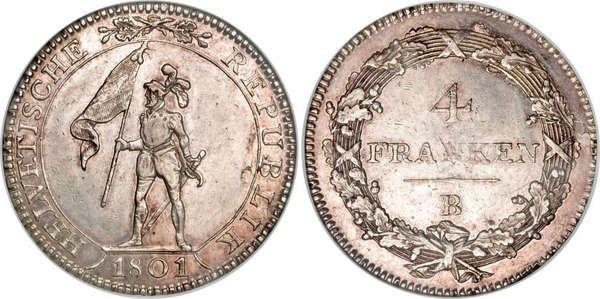 4 франка. Гельветическая Республика. 1801 год