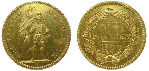 32 франка. Гельветическая Республика. 1800 год. Золото 900 пробы, 15,28 г