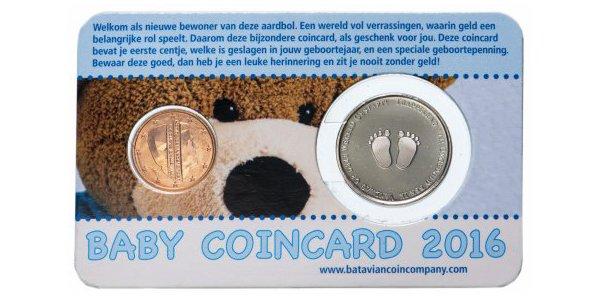 Нидерланды, 1 евроцент и жетон 2016 года «Первый цент ребенка – мальчик», BU, официальный блистер