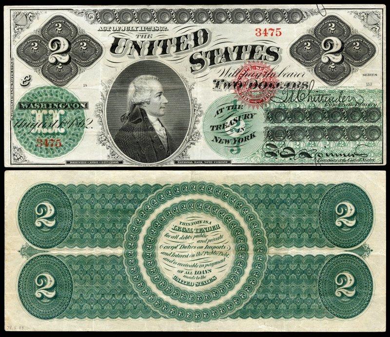 Первая купюра 2 доллара, выпускавшаяся в 1862-1863 годах. На купюре изображен портрет Александра Гамильтона (видный деятель Войны за независимость и первый министр финансов США). Размер 189×79 мм
