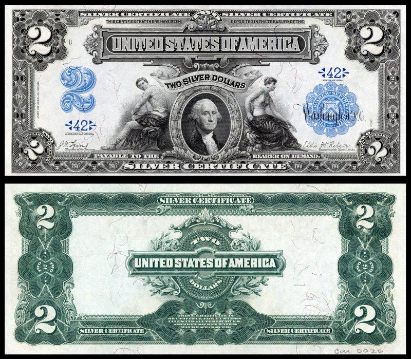 Двухдолларовый серебряный сертификат 1899 года с портретом Джорджа Вашингтона (американский государственный деятель, первый всенародно избранный президент Соединённых Штатов Америки (1789-1797), один из отцов-основателей США). Размер 189×79 мм