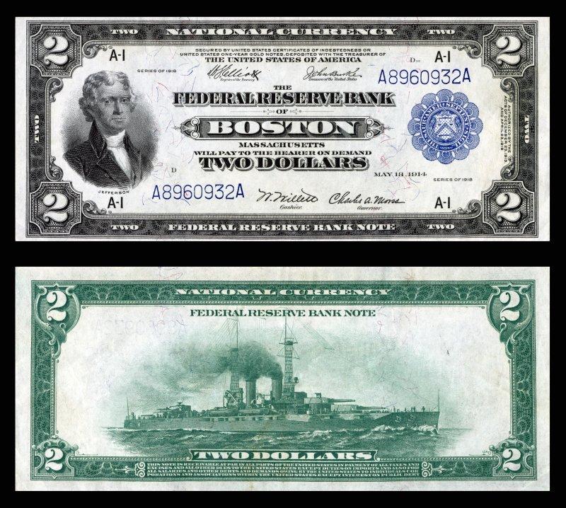 Двухдолларовая банкнота Федерального резерва. 1918 год. Банк Бостона. Размер 189×79 мм