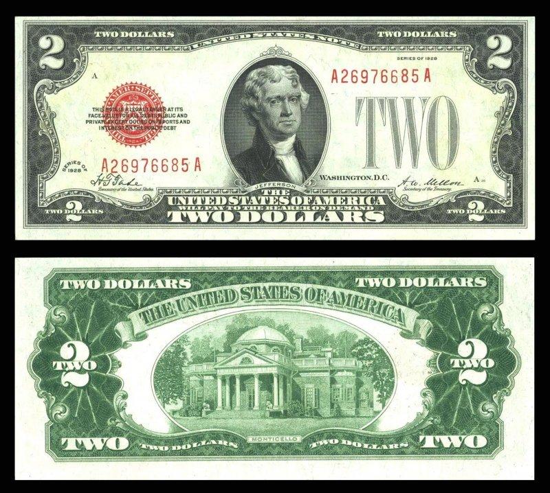 Два доллара с портретом Томмаса Джефферсона образца 1928 года. Размер 156×66 мм