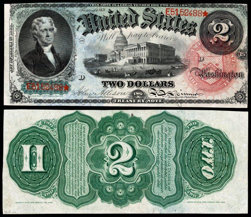 Купюра номиналом 2 доллара, образца 1869 года с портретом Томаса Джефферсона (один из авторов Декларации независимости (1776), 3-й президент США в 1801—1809 годах). Размер 189×79 мм