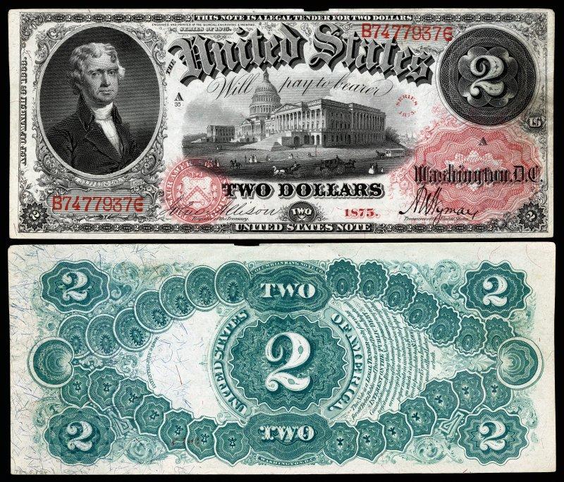 Купюра номиналом 2 доллара, образца 1875 года с обновлённым реверсом. Размер 189×79 мм