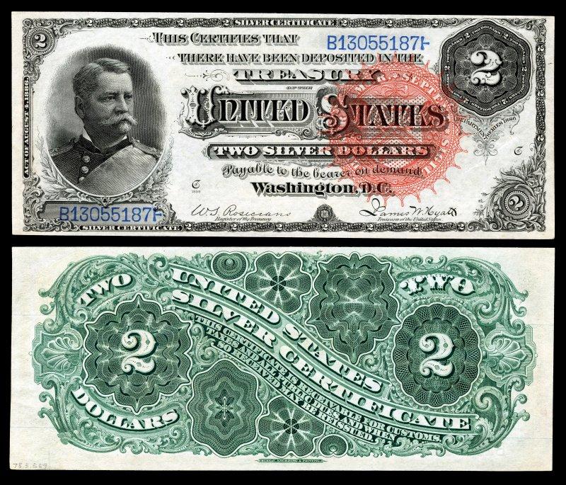 Рис. 5. Двухдолларовый серебряный сертификат 1886 года с изображением Уинфилда Скотта Хэнкока. Размер 189×79 мм