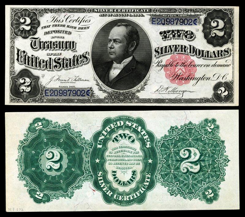 Второй тип в серии серебряных сертификатов напечатан в 1891 году. На аверсе изображён министр финансов Соединенных Штатов Уильям Уиндом