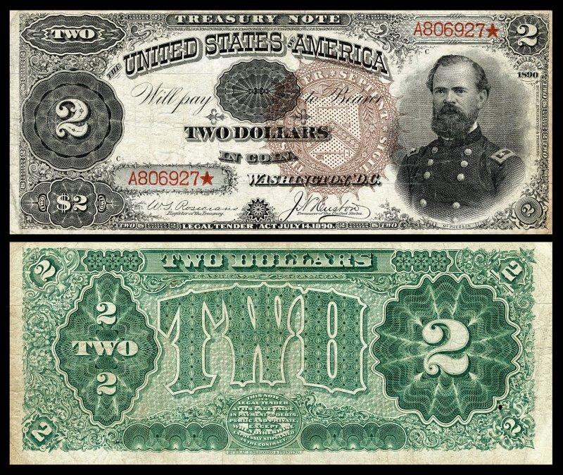 «Монетная» банкнота 1890 года с изображением Джеймса Макферсона – героя Гражданской войны (убит в битве при Атланте). Размер 189×79 мм