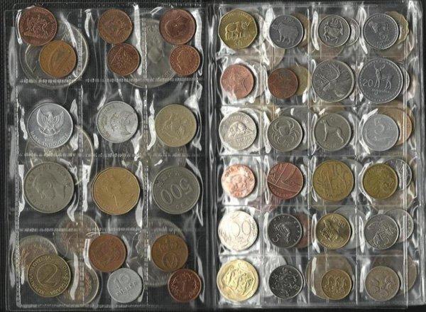 Коллекция монет в альбоме