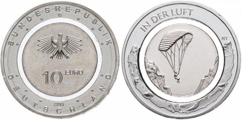 10 евро Германии с полимерной вставкой