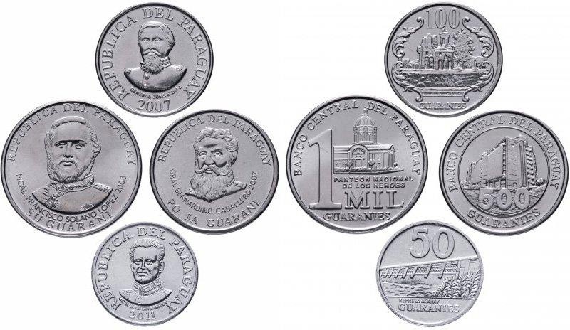 Обозначение страны-эмитента на аверсе монет Парагвая (на реверсе 500 и 1000 гуарани указан банк-эмитент)