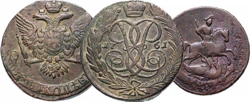 """""""Орёл"""" (слева), """"решка"""" (в центре) и """"копьё"""" (справа) на монетах Елизаветы"""