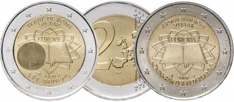 """Памятно-оборотные 2 евро Люксембурга (слева) и Нидерландов (справа). Серия """"Римский договор"""""""