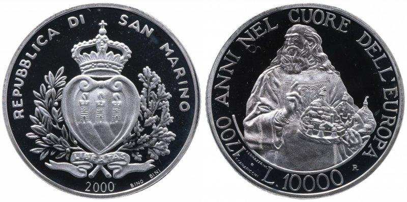 Сан-Марино, 10000 лир 2000 года «1700 лет Республике»