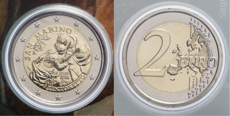 Сан-Марино, 2 евро 2018 года «500 лет со дня рождения Тинторетто»