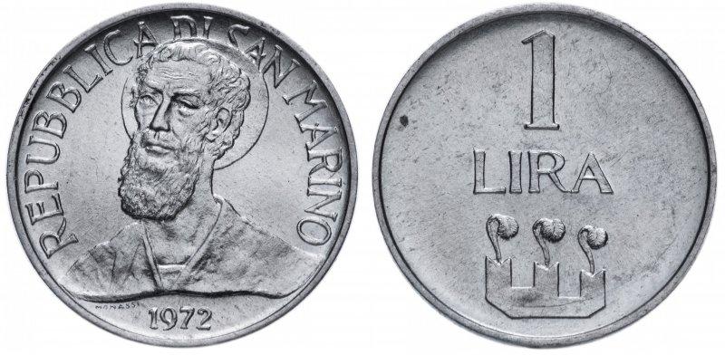 Сан-Марино, 1 лира 1972 года