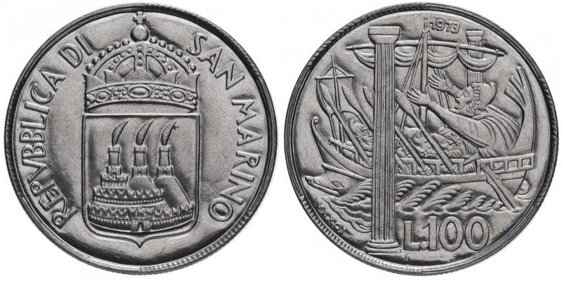 Сан-Марино, 100 лир 1973 года