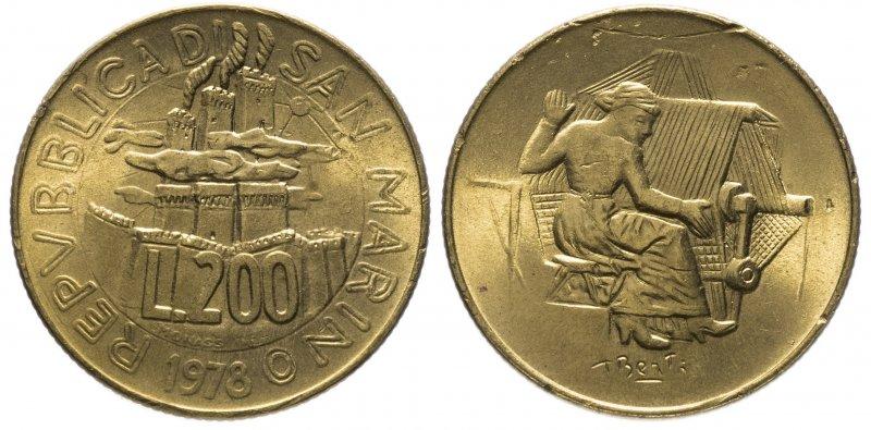 Сан-Марино, 200 лир 1978 года «Работа»