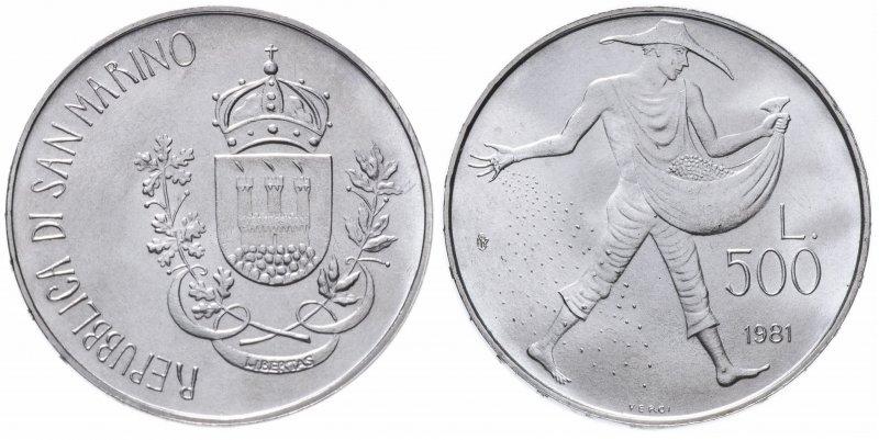 Сан-Марино, 500 лир 1981 года «2000 лет со дня смерти Вергилия»