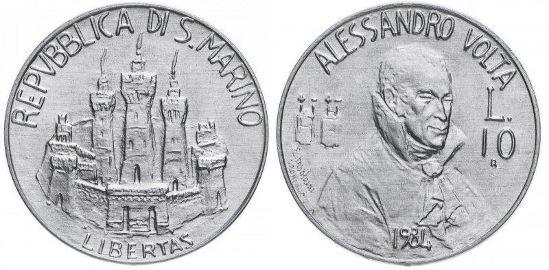 Сан-Марино, 10 лир 1984 года «Учёные»
