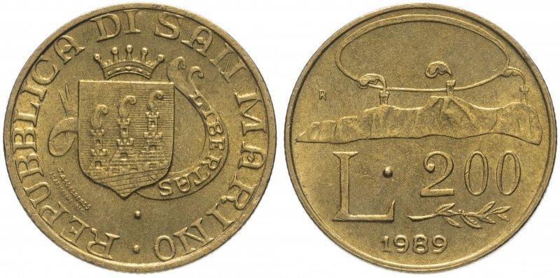 Сан-Марино, 200 лир 1989 года «Шестнадцать веков истории»