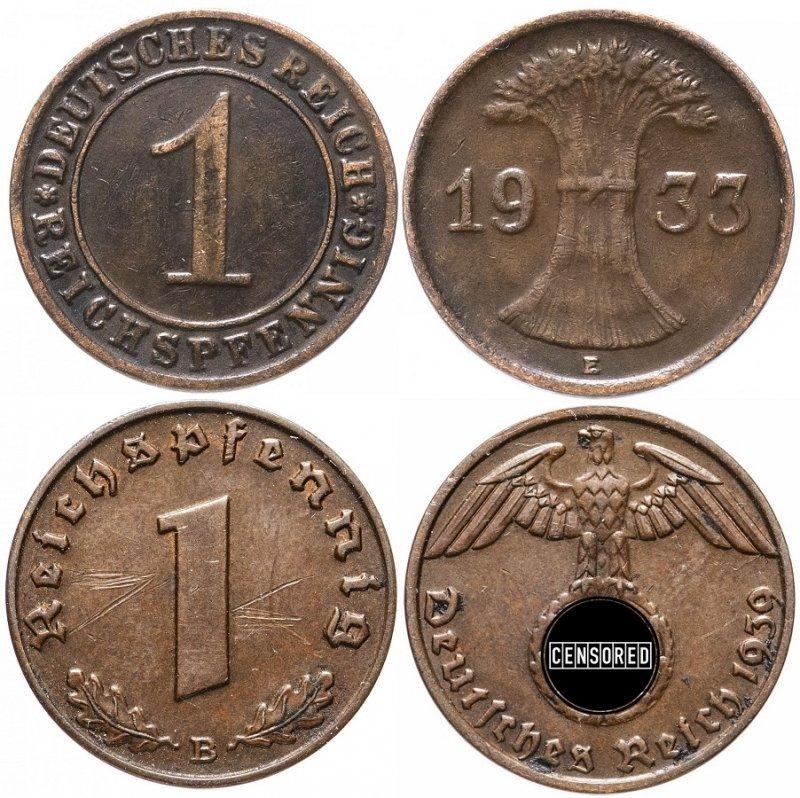 Реверс и аверс монет 1 рейхспфенниг 1933 г. и 1939 г.